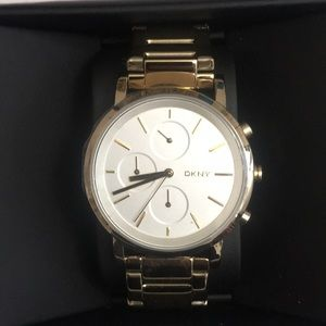 DKNY gold chronograph watch NEW in BOX